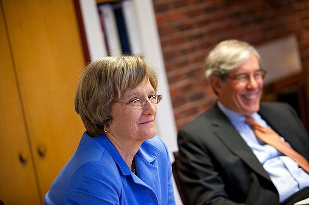 """""""Having these three outstanding alumni join the Corporation, with their complementary perspectives and their clear devotion to Harvard, has already energized our discussions,"""" said President Drew Faust (left) of the new committees. As senior fellow, Robert D. Reischauer (right) is chairing the governance committee, which also includes Faust and Corporation colleagues Nannerl O. Keohane, William F. Lee, and James F. Rothenberg."""