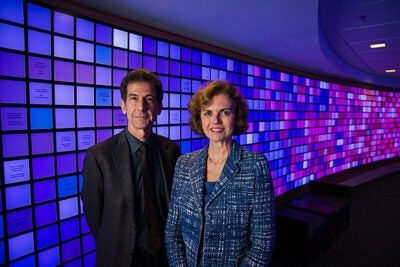 HMS faculty members Barrett Rollins (left) and Janina Longtine are collaborating on a massive, long-term effort to collect and analyze tumor tissue from 10,000 cancer patients each year. Using automated gene-analysis technology, they'll scan each tumor for nearly 500 known mutations on 41 genes.