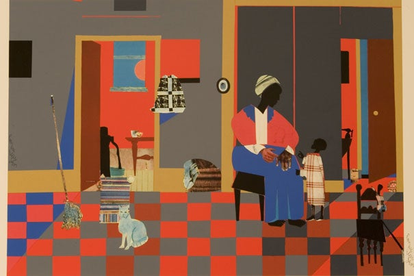 """Early Carolina Morning,"" 1978, collage on board. Image courtesy of the Bearden Foundation"