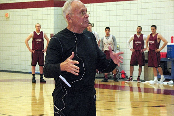 """""""My mom used to say, 'If your coach isn't on you, he doesn't care about you,'"""" said Hall of Fame coach Larry Brown, who helped lead the annual Harvard Men's Basketball Coaches Clinic, now in its fifth year."""