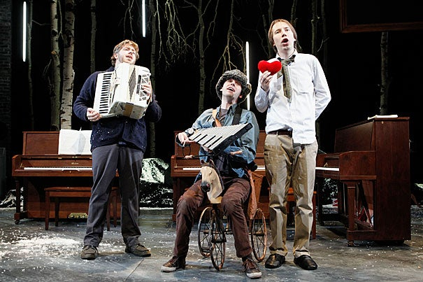"The American Repertory Theater (A.R.T.) is offering a bright twist on Schubert's solemn composition with its production of ""Three Pianos."" With the songs sung in English, German, and occasionally a ""bad English translation of German,"" according to co-creator Rick Burkhardt, the production captures a passion for the music and connects to its melancholy message using both humor and heartache. ""We were tempted to do the things we normally do, which is be amusing and sometimes lighthearted,"" said Burkhardt."
