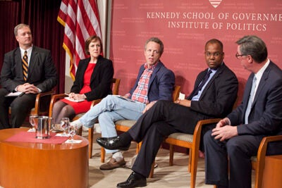 Trey Grayson (from left) moderated a discussion among political analysts Karen Tumulty, Mark McKinnon, Kahlil Byrd, and Tad Devine at the Harvard Kennedy School.