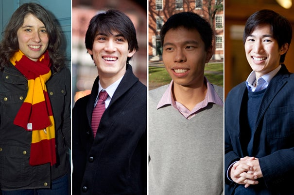 The 2012 Rhodes Scholars from Harvard include Brett Rosenberg (from left), Sam Galler, Victor Yang, and Spencer Lenfield. The Harvard seniors will attend Oxford University next fall.