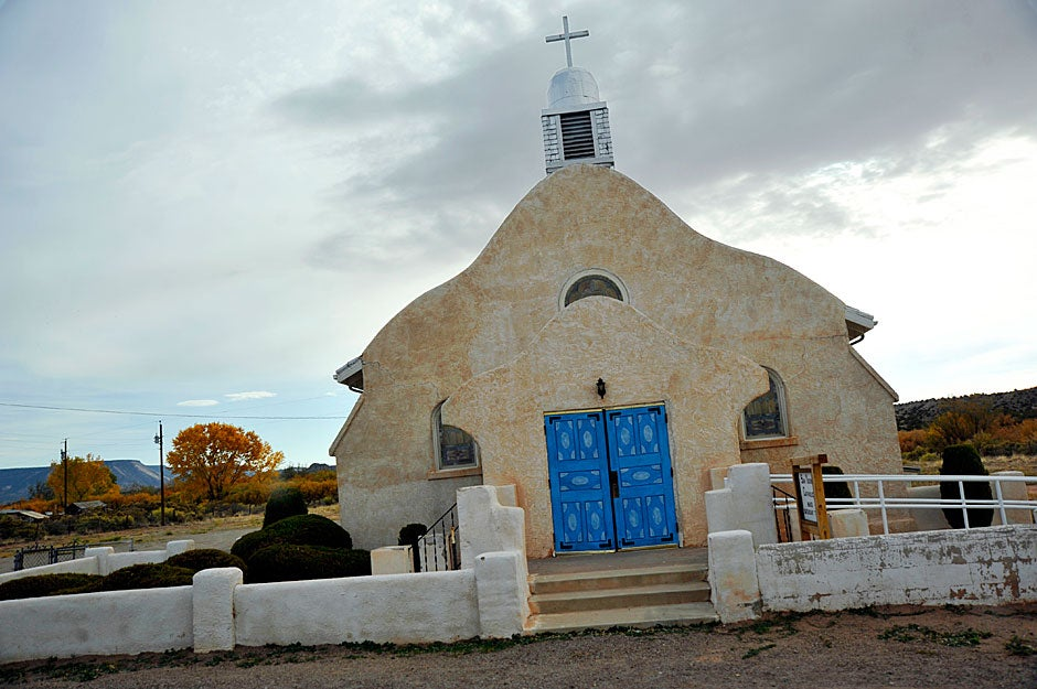 A roadside church graces the route from Albuquerque to Jemez Pueblo. Jon Chase/Harvard Staff Photographer
