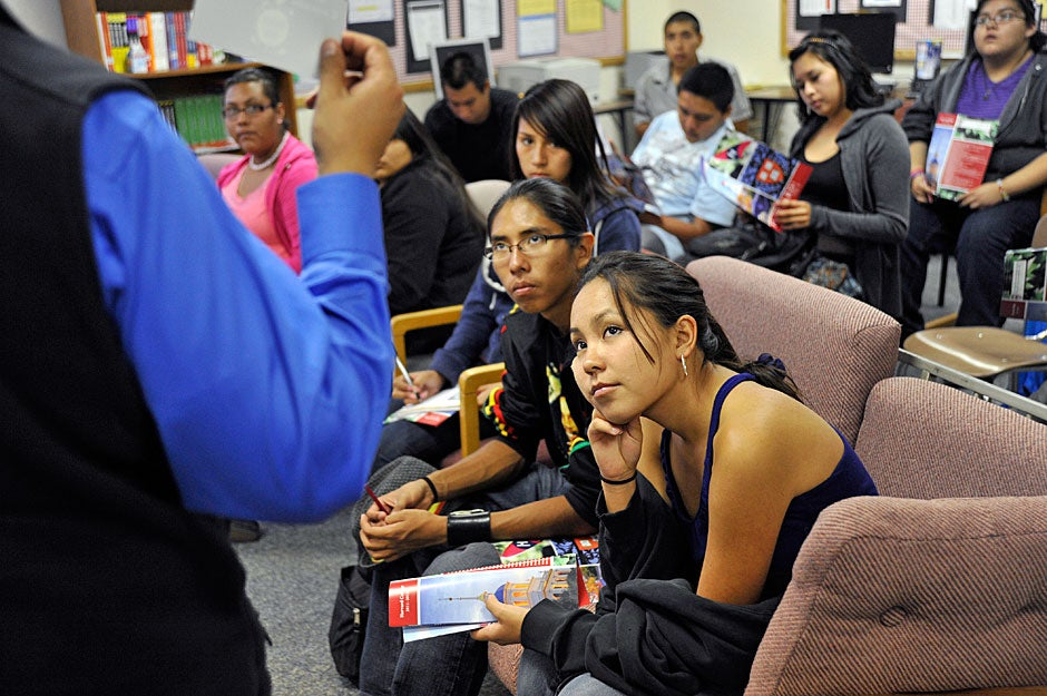 It is one thing, Packineau cautions, to leave the cozy confines of the pueblo for the newness of a local tribal college or even the University of New Mexico in Albuquerque, where Native Americans see similar faces walking the streets. But it is altogether a different experience to transplant oneself across the continent to the metropolitan Northeast, where native people can seem an anomaly. Jon Chase/Harvard Staff Photographer