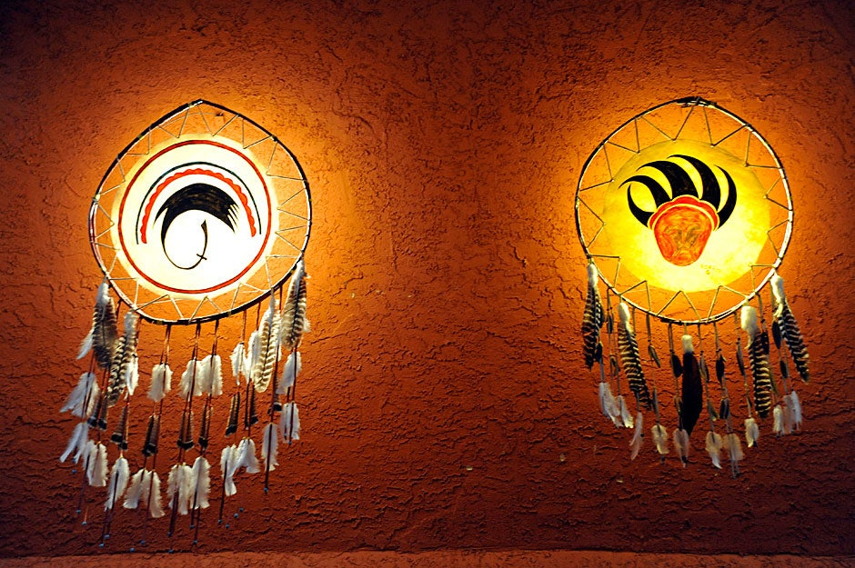 Native American artifacts at Nativo Lodge, a Native American-owned motel in Albuquerque. Jon Chase/Harvard Staff Photographer