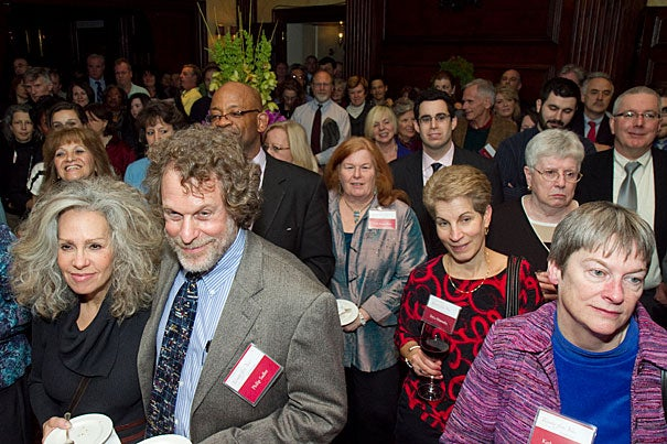 Honorees listen to President Drew Faust's talk, including Philip Sadler (left), Frances W. Wright Senior Lecturer on Celestial Navigation, and Katherine Kraft (far right), senior archivist at the Schlesinger Library.