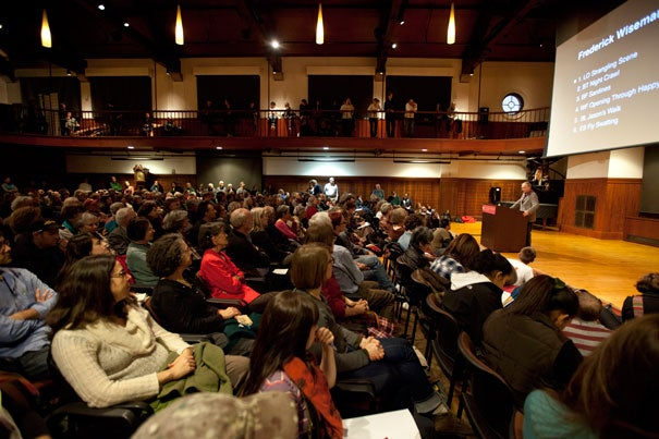 Documentary filmmaker Frederick Wiseman spoke before a packed audience at the Radcliffe Gymnasium, delivering the Julia S. Phelps Annual Lecture in Art and the Humanities, sponsored by the Radcliffe Institute for Advanced Study.