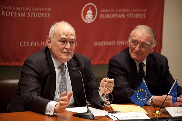 """The crisis that we face today in Europe is not a European crisis alone. It's a crisis of modern industrial society, it's a crisis of capitalism, and it has every likelihood of becoming a crisis of democracy,"" said Guido Goldman (left), co-founder of Harvard's Minda de Gunzburg Center for European Studies and director of German studies. Goldman and Karl Kaiser (right), adjunct professor of public policy and director of the Weatherhead Center for International Affairs' Program on Transatlantic Relations, addressed the European debt crisis during a Monday panel discussion."