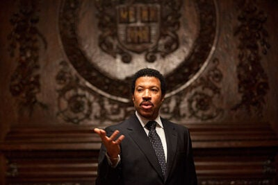 """""""I write about three corny words that will never go out of style: I love you,"""" said Lionel Richie, who was presented with the Harvard Foundation's 2011 Peter J. Gomes Humanitarian Award for his contributions to breast cancer research and beyond."""