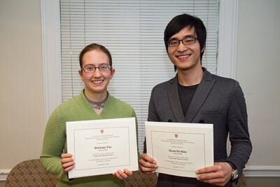 The Tazuko Ajiro Monane Prizes are awarded each year to outstanding students of Japanese who have completed at least two years of Japanese language study at Harvard. Brittany Fay (left) and Hyun Ho Kim are this year's recipients.