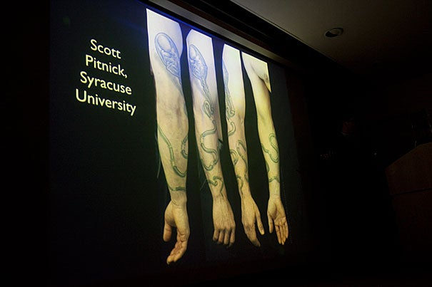 "Author Carl Zimmer discusses his book ""Science Ink: Tattoos of the Science Obsessed"" as part of the author series at the Harvard Museum of Natural History."