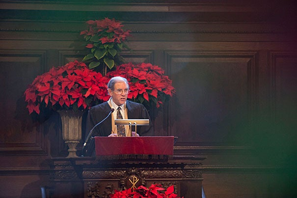 The Rev. Wendel W. Meyer, acting Pusey Minister in the Memorial Church, delivers the last Morning Prayer of 2011.