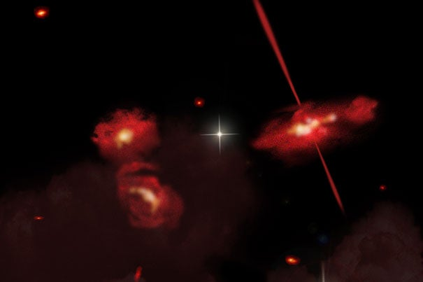 This artist's conception portrays four extremely red galaxies that lie almost 13 billion light-years from Earth. Discovered using the Spitzer Space Telescope, these galaxies appear to be physically associated and may be interacting. One galaxy shows signs of an active galactic nucleus, shown here as twin jets streaming out from a central black hole.