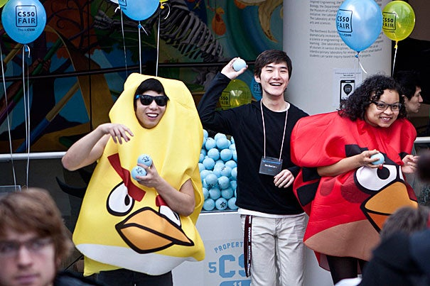 Student greeters in Angry Birds costumes provided a hint of the inspired thinking on display at the annual CS 50 Fair.
