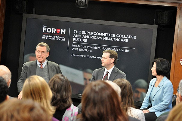 Robert Blendon (from left), HSPH professor of health policy and political analysis, David Cutler, the Eckstein Professor of Applied Economics and professor in the HSPH Department of Global Health and Population, and Gail Wilensky, an economist and director of Medicare and Medicaid under President George H.W. Bush, were three participants in an hourlong panel discussion that focused on Congress' failure to reach a budget agreement and the prospects for health care reform.