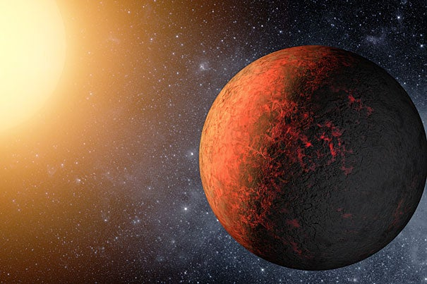 An artist's conception of Kepler20e, one of two Earth-sized exoplanets recently discovered by astronomers at the Harvard-Smithsonian Center for Astrophysics. The first Earth-sized exoplanets detected, they were found by astronomers as part of NASA's Kepler mission.
