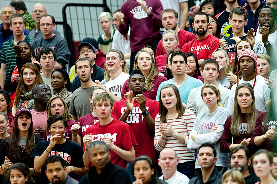 Throngs of Harvard students attended the game, which was close until the Crimson came alive in the second half, outscoring the Big Green.  Rose Lincoln/ Harvard Staff Photographer