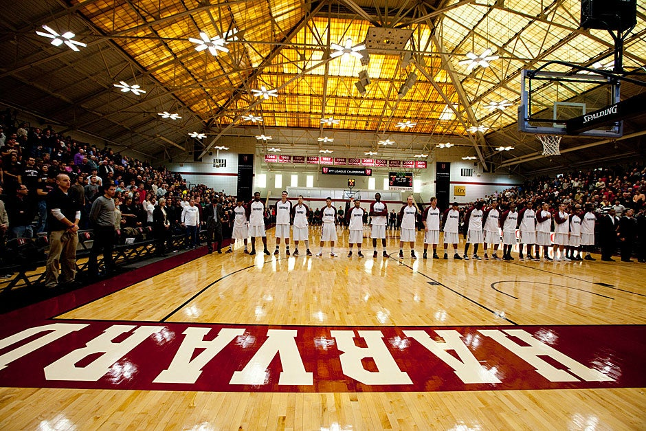 Nationally ranked for the first time in college history, the Harvard men's basketball team lined up on the foul line for the pre-game playing of the National Anthem. The Crimson continued their winning streak, beating Dartmouth, 63-47, on Jan. 7, extending their storybook season.   Rose Lincoln/ Harvard Staff Photographer