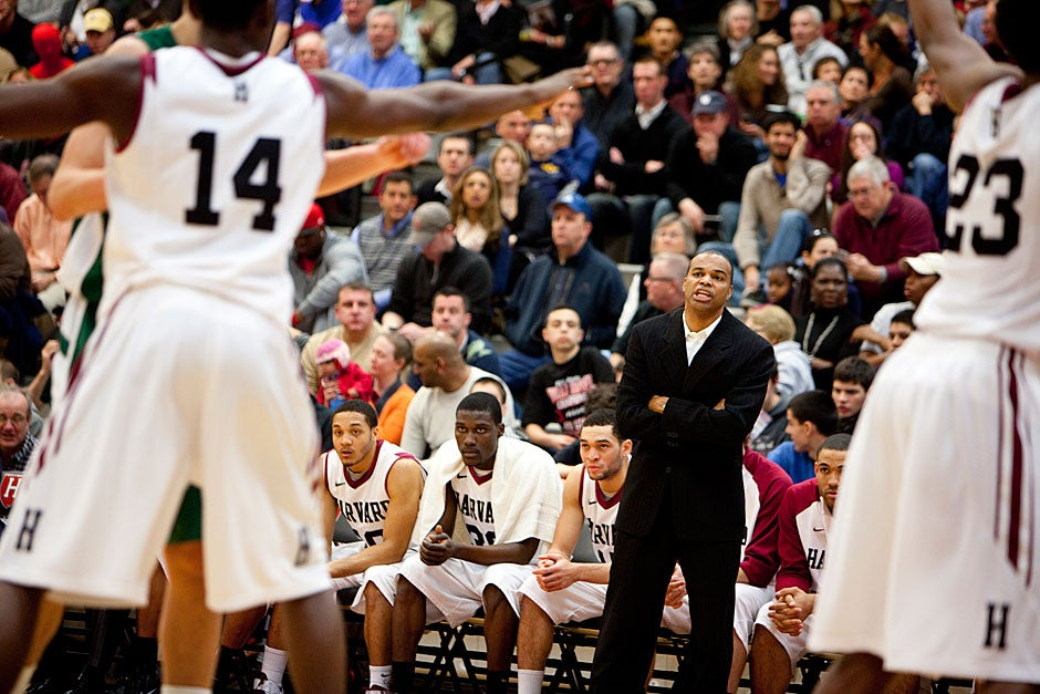 Crimson Head Coach Tommy Amaker led his team into the polls as a top 25 nationally ranked team for the first time in school history earlier this season.  Rose Lincoln/Harvard Staff Photographer