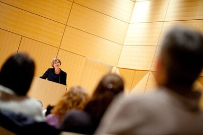"In ""Telling War Stories: Reflections of a Civil War Historian,"" Harvard President Drew Faust explored the meanings the Civil War holds today. The lecture at the Cambridge Public Library kicked off the John Harvard Book Celebration, a recently announced program that will commemorate Harvard's 375th anniversary."