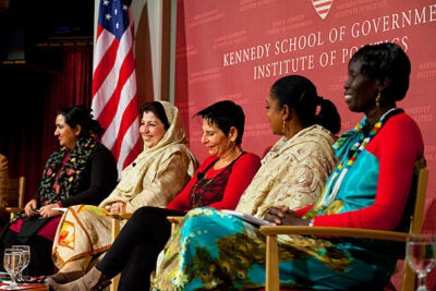 Samira Hamidi (from left), Mossarat Qadeem, Lt. Gen. (Ret.) Orit Adato, Zaynab El Sawi, and Rebecca Joshua Okwaci drew from firsthand experience in a discussion of women's roles in peace efforts Jan. 11 at the John F. Kennedy Jr. Forum.
