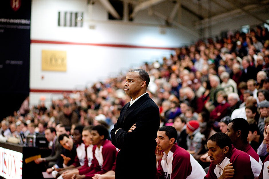 Coach Tommy Amaker closely observes his nationally ranked team.   Rose Lincoln/ Harvard Staff Photographer