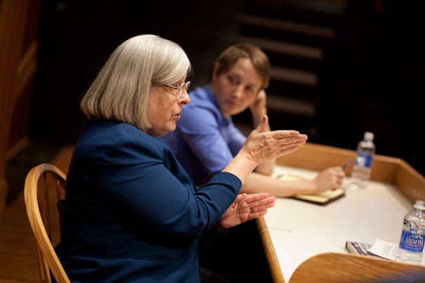 "Theda Skocpol (left) and Vanessa Williamson gave a talk on their book, ""The Tea Party and The Remaking of Republican Conservatism."" Their research indicated three main forces behind the movement's success: grassroots activism, funding from wealthy conservative advocacy groups, and publicity from right-leaning broadcasters."