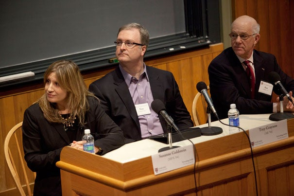 """Harvard alumni Susanne Goldstein (from left), Trey Grayson, and Ken Ledeen underscored how networking is a skill that can be learned, practiced, honed, and perfected during """"Networking NOW: The Learn-How-to-Network Event,"""" a panel sponsored by the Harvard Club of Boston and the Harvard Alumni Association."""