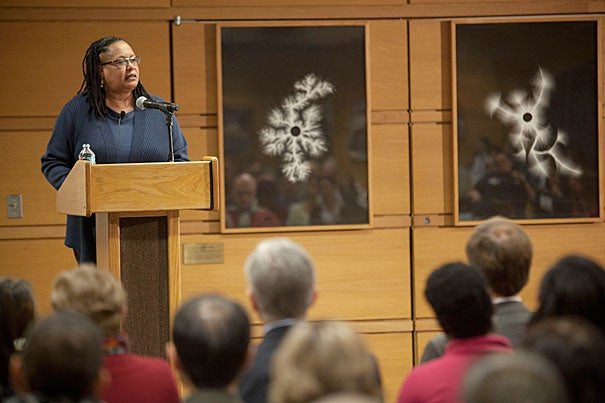 """As part of the keynote address delivered at MIT's Institute Diversity Summit, Harvard College Dean Evelynn M. Hammonds said that """"barriers within science have persisted for minority women even as they changed for white women and minority men."""""""