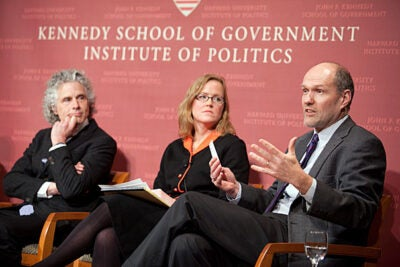 Stephen Walt (far right), Belfer Professor of International Affairs, said it was important to separate out the reasons for a decline in violence and not confuse the cause for a decline in interpersonal violence. Walt was joined at the Kennedy School Forum by Steven Pinker (far left) and Monica Toft (center). Also included on the panel was Joshua Goldstein, professor emeritus at American University.