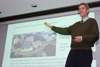 "Rob Gogan, associate manager of recycling services in Harvard's University Operations Services, talked about the University's progress toward a goal of zero waste by 2020 in a ""Trash Talk"" lecture sponsored by the Peabody Museum."