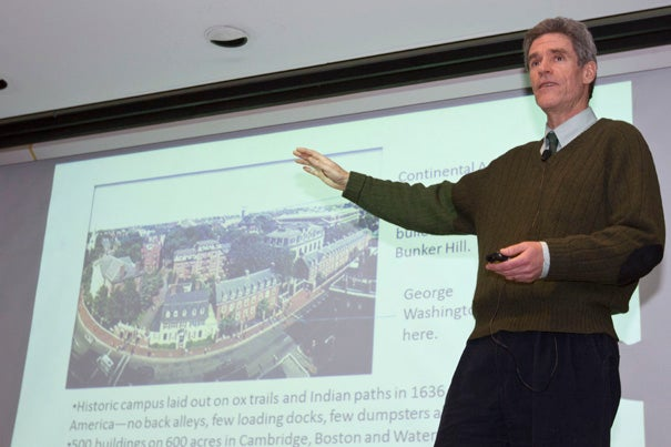 """Rob Gogan, associate manager of recycling services in Harvard's University Operations Services, talked about the University's progress toward a goal of zero waste by 2020 in a """"Trash Talk"""" lecture sponsored by the Peabody Museum."""