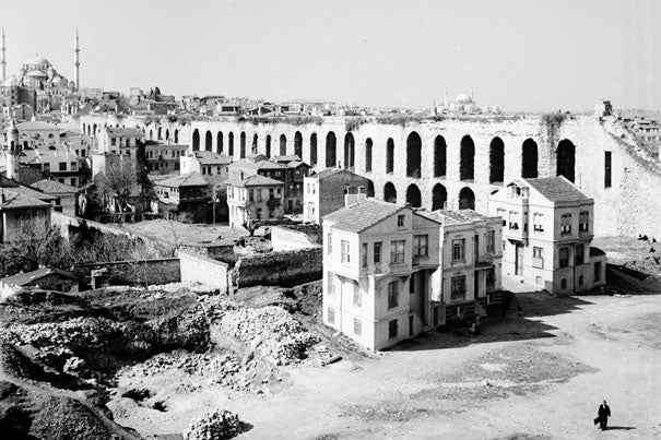 The Aqueduct of Valens was photographed by Nicholas V. Artamonoff in March 1936. Pictured is a slightly cropped version of the original image, which is part of the Nicholas V. Artamonoff Collection, presented by the Image Collections and Fieldwork Archive at the Dumbarton Oaks Research Library and Collection, in Washington, D.C.