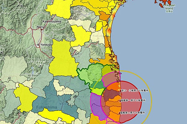 This map shows reported casualties caused by the Sendai Earthquake of 2011, based on CATDAT (global database of damaging earthquakes) and the radioactive fallout evacuation zones that surround the Fukushima Daiichi nuclear plant. Japanmap is edited by Ray Kameda for the Daishinsai Archive, a project under the direction of the Reischauer Institute for Japanese Studies.