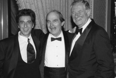 "David Wheeler (center) with actor Al Pacino (left) and Robert Brustein. Wheeler passed away on Jan. 4. ""As director of the Theatre Company of Boston, David Wheeler was one of the founding fathers of postwar American theater and his influence on the American Repertory Theater has been incalculable,"" said Brustein, the A.R.T.'s founding director."