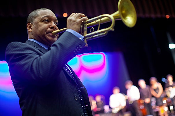 """Wynton Marsalis' lecture, """"Meet Me at the Crossroad,"""" will begin at 7:30 p.m. Feb. 6 at Sanders Theatre. """"The blues, American folk music, gospel, American popular song, hillbilly, bluegrass, country western, and jazz are root styles of our national music,"""" Marsalis said. """"This lecture will identify the similarities and differences of those roots, and explain why they are musically compatible."""""""