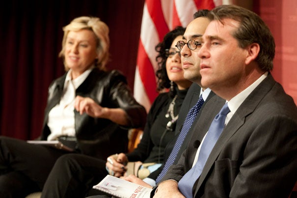 """What we've got happening in Egypt right now is a transition, a transition from a dictatorship maybe to another dictatorship … maybe to a democracy,"" said Tarek Masoud (third from left), assistant professor of public policy at Harvard Kennedy School, during a Feb. 2 forum discussion.  Other panelists included moderator Tina Brown (from left), Mona Eltahawy, Masoud, and Charles Sennott."