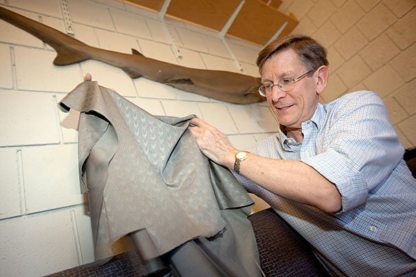 "Professor George Lauder has found that the rough surface of shark skin helps reduce drag and increase thrust as the animal swims. Interestingly, the research also tested the high-tech swimsuits and found that their surface (supposedly designed to mimic shark skin) has no effect on swimming speed. ""I'm convinced they work, but it's not because of the surface,"" he said of the swimsuits."