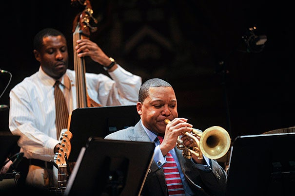 """Backed by an all-star band, Wynton Marsalis explored the """"mulatto identity of our national music"""" with a rollicking performance and a thoughtful lecture on America's porous tuneful genres."""