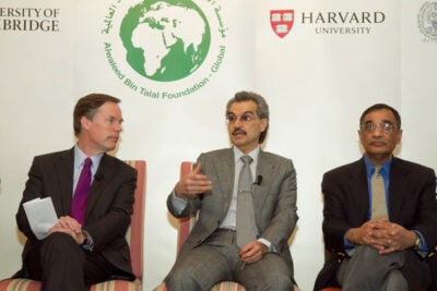 """It is very clear that what took place in some countries in the Arab world is an earthquake to the region,"" Prince Alwaleed (center), whose 2005 gift created the Harvard Program, said in describing the Arab Spring. The panel discussion was moderated by R. Nicholas Burns of the Harvard Kennedy School (left) and also included Professor Ali Asani (right), director of Harvard's Prince Alwaleed Bin Talal Islamic Studies Program."