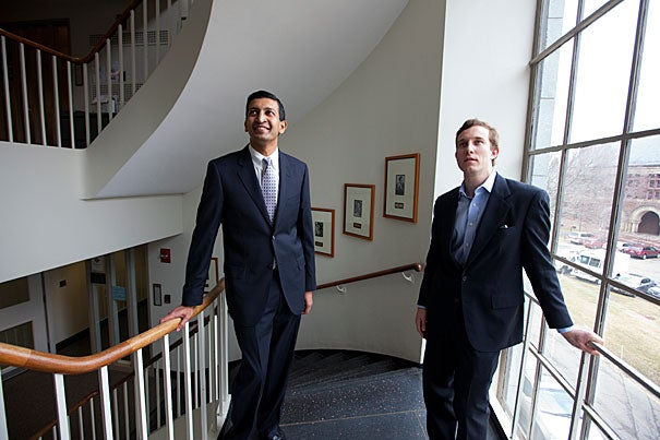 """If an elementary school student has an excellent teacher even for a single year, it boosts their income by an average of about 2 percent per year,"" says Raj Chetty (left), professor of economics at Harvard's Faculty of Arts and Sciences. Chetty was a co-author of the study with Harvard Kennedy School's John Friedman."
