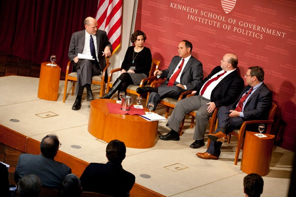 """To most Israelis the idea of Iran with a nuclear weapon means one of only two things, said Charles Freilich (third from left), a onetime senior analyst at the Israel Ministry of Defense. It is either a dire threat, or an existential threat. Freilich was joined by moderator Stephen Walt (from far left), Nazila Fathi, Steven E. Miller, and David Sanger at the Harvard Kennedy School for an IOP panel discussion titled """"Countdown: Iran, Israel and the Threat of a Military Strike."""""""