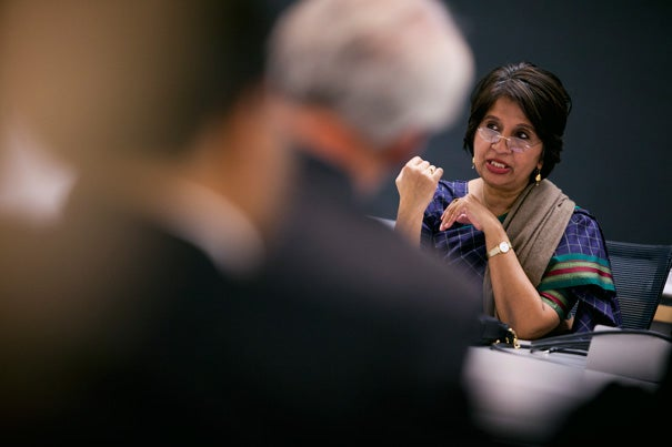 India's ambassador to the United States, Nirupama Rao, said India supports Iran's right to develop peaceful nuclear power but opposes any clandestine move to develop nuclear weapons.