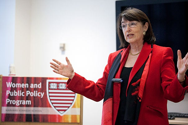 """It's not a situation that discrimination lawsuits can correct, said Nancy Gertner, because so many women are """"leaning out"""" of their professions — that is, anticipating future pressures and so choosing career paths that enable them to leave the workplace more readily. Gertner, a professor of practice at Harvard Law School, was giving a talk at the Harvard Kennedy School."""