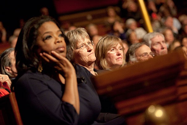 Oprah Winfrey (from left),  Harvard President Drew Faust, and Graduate School of Education Dean Kathleen McCartney listened as Lady Gaga launched her anti-bullying, youth-empowering Born This Way Foundation  at Sanders Theatre.