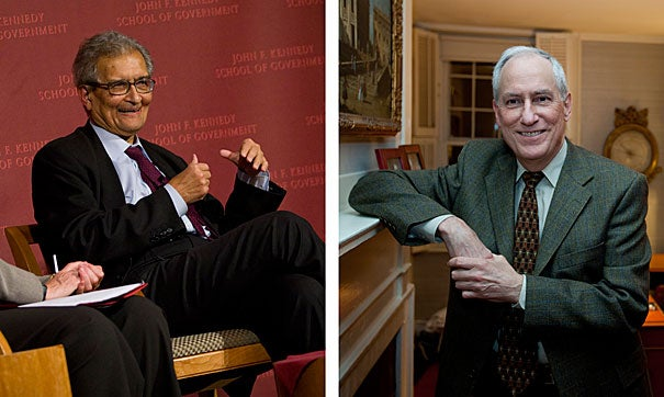 Economist and philosopher Amartya Sen (left), Thomas W. Lamont University Professor, and historian Robert Darnton, Carl H. Pforzheimer University Professor and University librarian, received 2011 National Humanities Medals. Harvard Overseer Emily Rauh Pulitzer received the 2011 National Medal of Arts. The medals were presented by President Obama today at the White House.