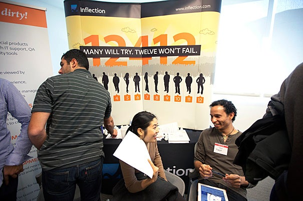 Yoseph Ayele (right), a recruiting manager for Inflection, speaks with Natalie So '12 during the Start-Up Career Fair. The fair was an opportunity for undergraduates to meet with representatives from some of the country's most innovative and fast-growing firms, and to learn about jobs and internships.