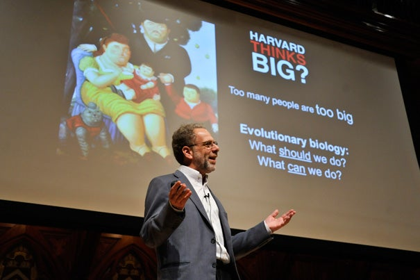 """The message of Michelle Obama's 'Let's Move' program is drowned out by the $2 billion spent to market unhealthy food to children,"" said Evolutionary Biology Professor Daniel Lieberman during ""Harvard Thinks Big"" event at Sanders Theatre."