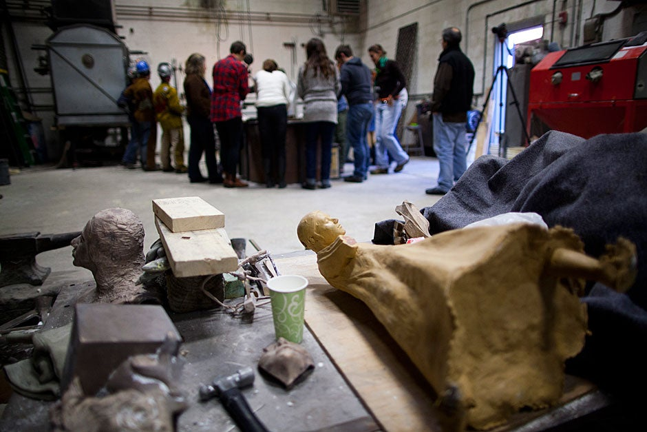 """This casting room at New England Sculpture Service, an art foundry in Chelsea, Mass., is where the studio sessions of """"Cast in Bronze"""" were held.  Stephanie Mitchell/Harvard Staff Photographer"""